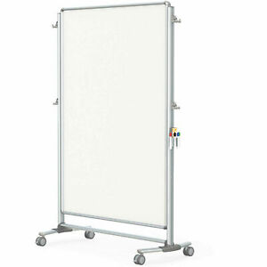 Ghent 174 Nexus Partition 2 sided Mobile Magnetic Whiteboard Silver Frame