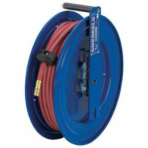Spring Rewind Reel For Air water No Hose 3 8 I d 50 Pvc Capacity 300 Psi