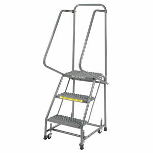 Ballymore H318g Grip 16 w 3 Step Steel Rolling Ladder 14 d Top Step