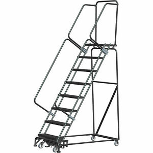 Ballymore Wa082414g 8 Step Safety Rolling Ladder Weight Actuated Lock Step 16 w