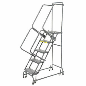 Ballymore Fsh518p Perforated 16 w 5 Step Steel Rolling Ladder 14 d Top Step