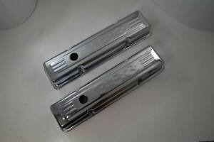 Small Block Chevy 283 350 Short Valve Covers 383 Logo Baffled Chrome