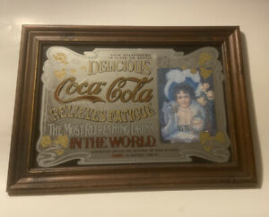 "LARGE VINTAGE COCA COLA MIRROR IN WOOD FRAME CLASSIC PUB BAR SIGN (21""x15"")"