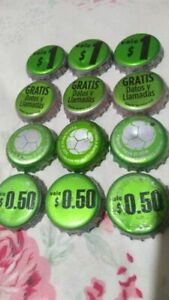 MEXICO lot of 12 Coca Cola bottle caps green; mexican crown modern