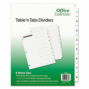 Table n Tabs Dividers 8 tab 1 To 8 11 X 8 5 White 1 Set 11668 11668 1