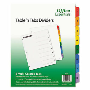 Table n Tabs Dividers 8 tab 1 To 8 11 X 8 5 White 1 Set 11669 11669 1