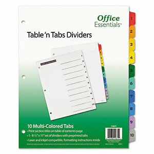 Table n Tabs Dividers 10 tab 1 To 10 11 X 8 5 White 1 Set 11671 11671 1