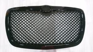2005 2010 Chrysler 300 300c Front Grill Hood Grille Glossy Black Bentley Style