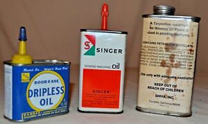 Vintage Tin Cans Signa Turp  Singer Oil  Door Ease