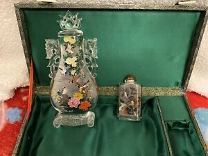 Rare Find Must See Large Ornate Reverse Painted Glass Snuff Bottle Set