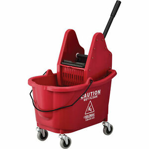 Mop Bucket And Wringer Combo With Down Press Red