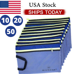 50 Pcs A4 2 Pocket Waterproof Zipper Pouch Zip File Bag Document Folder Office