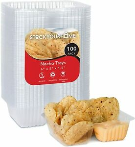 Disposable Nacho Trays 100 Pack 2 Compartment Food Tray 6 X 5 12 Ounce