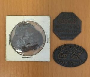 COCA COLA Vintage Drink Tokens 3 styles. Used Condition with expected wear.