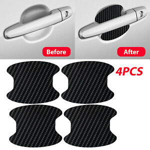 4pcs Carbon Fiber Car Door Handle Anti Scratch Protector Film Sticker Universal