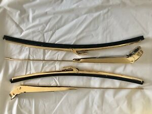 61 64 Impala 24k Gold Plated Wiper Arms And Blade Set
