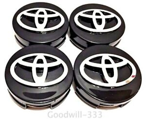 4 X Toyota Wheel Center Hub Cap Gloss Black Chrome Logo 62mm