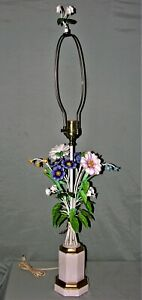 Vintage Italian Made Shabby Chic Tole Metal Wrought Iron Flower Lamp