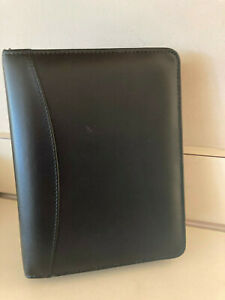 Franklin Covey Compact Black Full Grain Leather Zip Planner