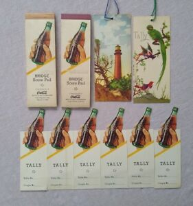 2 Coca Cola Vintage 1940 Bridge Score Pads & 8 Coca Cola Tally Cards
