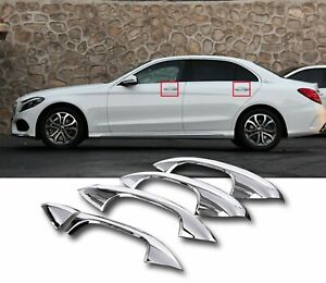 5pcs Chrome Gloss Silver Lhd Door Handle Plastic Cover For 17 20 W213 E300