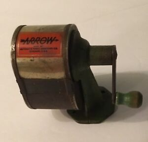 Vintage Arrow Pencil Sharpener Wall Desk Green Wood Crank