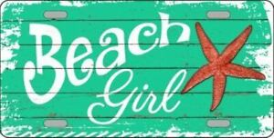 Beach Girl Metal License Plate
