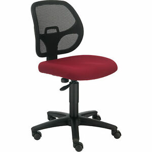 Armless Mesh Back Office Chair Fabric Red