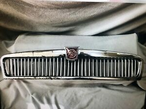 Original Mgb Front Chrome Grille Slats Assembly Grill With Mg Emblem Brass Cr