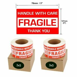 1000 Fragile Shipping Stickers Labels 3 x5 Handle With Care Thank You 500 roll