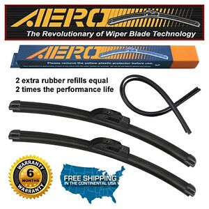 Aero 26 17 Oem Quality Beam Windshield Wiper Blades Extra Refills set Of 2