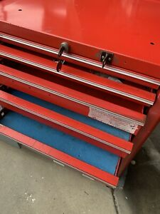 Snap On Tool Box On Heavy Duty Wood Tool Cart All 7 Drawers Open Easily