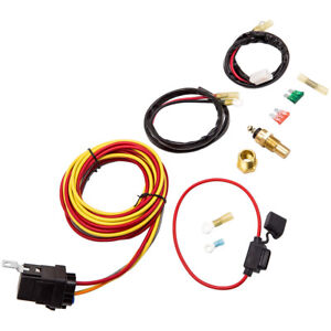 Electric Fan Wiring Harness Thermostat Switch Relay Kit 40 Amp 165 185 Degree