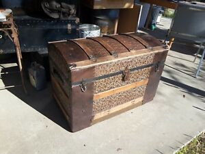 Vintage Barrel Top Victorian Steamer Trunk Treasure Chest Pressed Tin 1800s Old