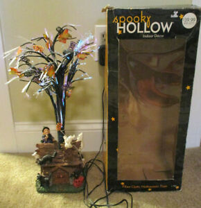 Spooky Hollow Halloween Fiber Optic Tree Haunted Cabin Base Ghosts Witch 2002