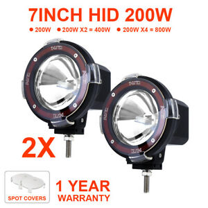 Pair 7 Inch 200w Hid Driving Lights Spot Spotlights Round Red Work Offroad Lamp
