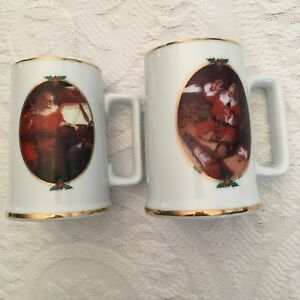 Lot 2 Coca Cola Mugs Collector Edition 1996 Seasons Greetings Christmas Santa
