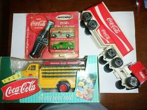 vintage coca cola collectibles (2 trucks and Matchbox Cars)