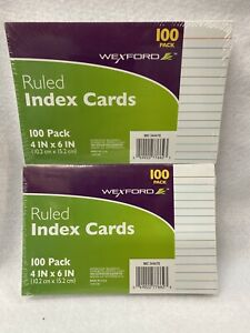 Lot Of 2 Wexford 4 X 6 Blank Index Cards White 100 pack