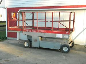 Mec 1948 Scissor Lift 8 To 12 Ft Deck Hgt 25 Work Hgt Extendable Deck 36v