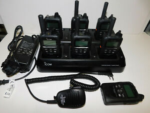Lot Of 7 Icom Ip 501h Lte 3g 4g Portable Radios With 6 Unit Gang Charger