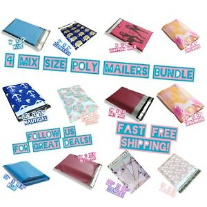 120 Four Mix Size Poly Mailers Variety Pack 10 Ea