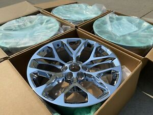 Oem Factory Chevy Silverado Chrome Snowflake Gmc Sierra Truck Wheels Set 22x9