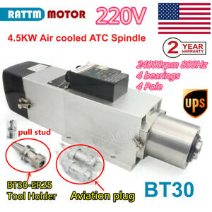us Stock 4 5kw Atc Automatic Tool Change Air Spindle Motor Bt30 800hz 220v Cnc