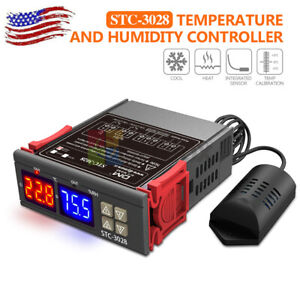 Stc 3028 Ac110 220v Dual Led Temperature Humidity Controller Digital Thermostat