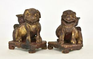Pair Antique Chinese Red Gilt Wood Carved Statue Figure Of Fu Foo Dog Lion