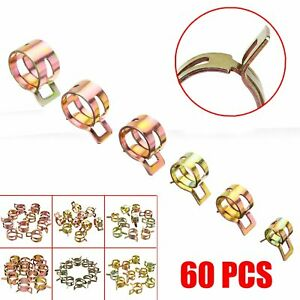 60 Pack Spring Clips Fuel Hose Line Water Pipe Air Tube Clamps 7 10 11 14 15mm
