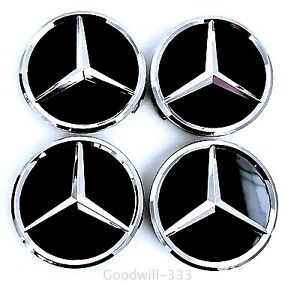 4 Pcs 75mm Black Gloss Wheel Badge Center Caps For Mercedes Benz
