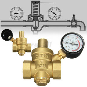 Dn20 Npt 3 4 Adjustable Brass Water Pressure Regulator Reducer W Gauge Meter