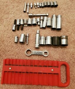 Snap On Mac Granco 1 4 3 8 1 2 Drive Misc Sockets Magnetic Tray Lot Of 34